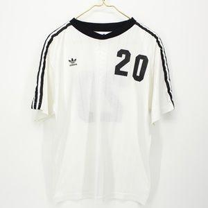 90's ADIDAS White Jersey Black Stripes